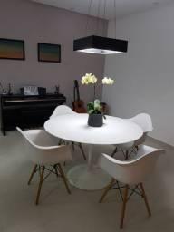 Mesa tulipa nanoglass 1,25 metros + cadeiras