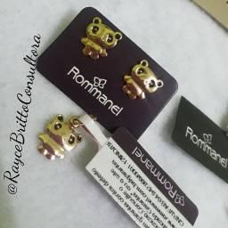 Brinco + Pingente Panda Rommanel