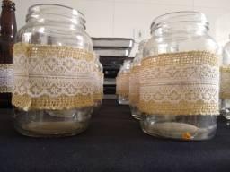 Vendo garrafas e potes decorados- decoração de festa