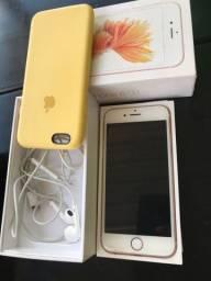 iPhone 6s rose com todos acessórios e nota