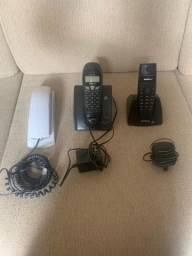 Telefones Intelbras: 2 sem fio e 1 com fio