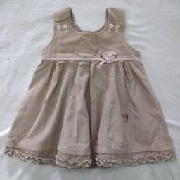 Vestido de veludo  para menina até 2 anos