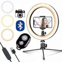 """Kit Ring Light de Mesa 26cm 10"""" com suporte para celular + controle selfie/filmagens"""
