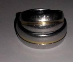 Anel prata com 003 gramas de ouro 18k