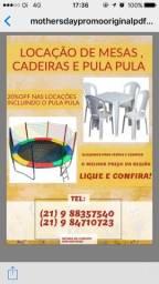 Locação de cadeiras , mesas e pula pula