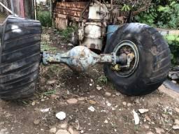 Diferencial de trator com roda e pneu