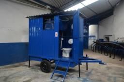 Banheiro agrícola móvel com 02 Sanitários e caixa de dejetos