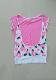 Blusa rosa com branco manga curta P