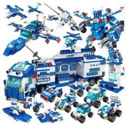 Lego 700 Peças, Polícia Swat, caminhão swat, 27 tipos de transformação, Novo, Tipo Lego
