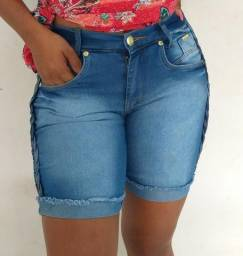 Short Jeans Bermuda Meia Coxa Jeans Feminina