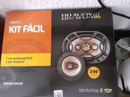 """Kit fácil bravox linha x 1 par quadraxial 6x9 1 par triaxial 6""""  com garantia instalado"""
