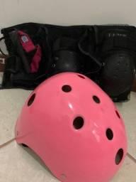 Kit proteção patins capacete joelheira