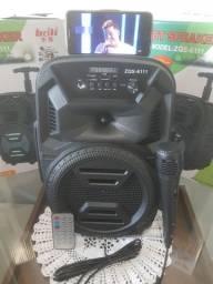 Caixa Amplificada com rodinhas e microfone