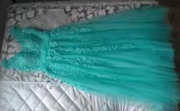 Vestido de festa verde tiffany, tamanho M
