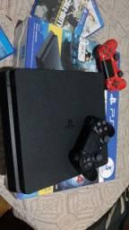 PS4 1 tera  2 controles 17 jogos