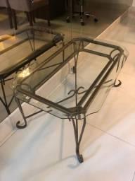 Mesa de centro com vidro bisotado