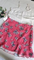 Conjunto: Bluza em viscose com saia  em poliéster estampada