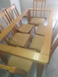 Mesa sem vidro,com 6 cadeiras