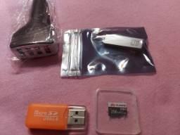 Pendrive ,carregador veicular 4 USB ,cartao micro sd 256GB