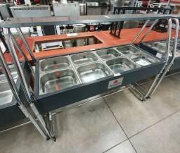 Buffet aquecido 8 cubas / novo acompanha cubas e tampas 220v