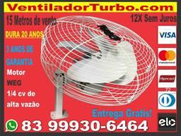 Ventilador Turbo Industrial Super Potente, 15 metros de alcance, dura 20 Anos Motor 1/4cv