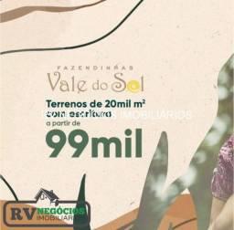 +1 Terrenos de 20 mil m² a partir de 99 mil financiamento direto Sem burocracia!!!