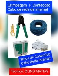 Confecção de cabo Rede e troca de conector