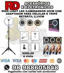 RING LIGHT ILUMINANDOR DE LED 26cm COM ADAPTADOR PARA CELULAR TRIPÉ RETRÁTIL 2,10cm