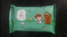 Toalhas infantil lenços umedecidos natura sem álcool banho de gato 50 unidades