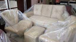 Trio um sofa 3 Lugares 2 Poltrona 1 puff