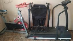 Academia aparelhos de ginastica; cadeira ABS, Esteira athletic, bike spinnig