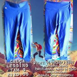 Calça Legging Azul Claro Tam G