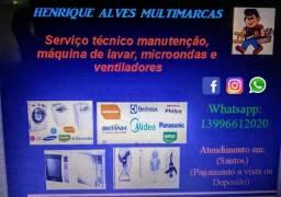 Henrique Alves serviço em manutenção de lavadora, microondas e ventiladores