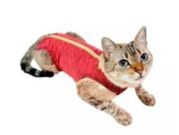 Roupa Cirúrgica Pet Med Gatos Duo Dry Rosa - Tam 1