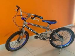 Bicicleta Aro 20 BMX Cross Freestyle (Cromada/Azul)