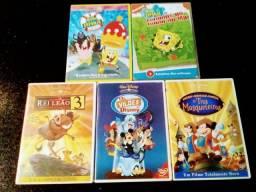 Kit com 5 DVDs de desenhos infantis (vendo separadamente também)