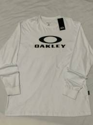 Camiseta masculina manga longa branca Oakley