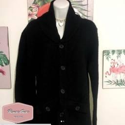 Maxi casaco de lã batida com bolsos Tam. M - R$ 40,00 / Parcelamos no cartão