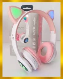 Título do anúncio: Fone gatinho Bluetooth luz de led nas orelhas produto novo