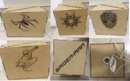 Luminária/ Abajur Decorativa Cubo em MDF Spider Man
