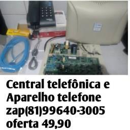 Central telefônica,cabo e aparece telefone