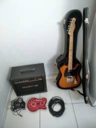 Guitarra fender + cubo borne + pedaleira v amp3