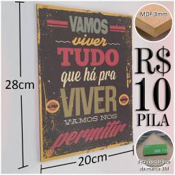 Kit 10 Placas Decorativas (Personalizamos)
