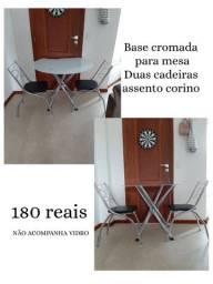 Base para mesa e duas cadeiras  assento corino