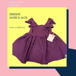 Vestido de festa para bebê. Novo. Marca/ Designers Janie & Jack. 6-12 meses