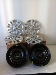 Jogo de rodas ferro aro 15 + calotas originais Hyundai