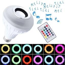 Lâmpada caixa de som e luz colorida