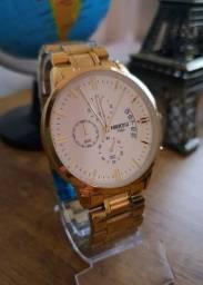 Relógio Luxo Dourado Quartzo Aço inoxidável 43mm!