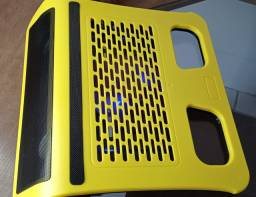 Mesa para notebook com cooler, e som integrado, frete grátis.