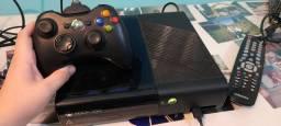 Xbox 360 SLIM preto destravado 2 controles